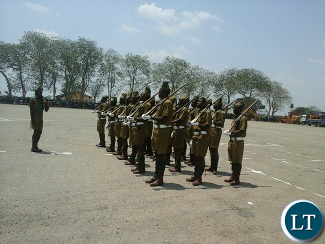 The recruit pass-out and commemoration of the African Correctional and Prisons Day in Kabwe with Recruits wearing uniforms worn during the colonia era