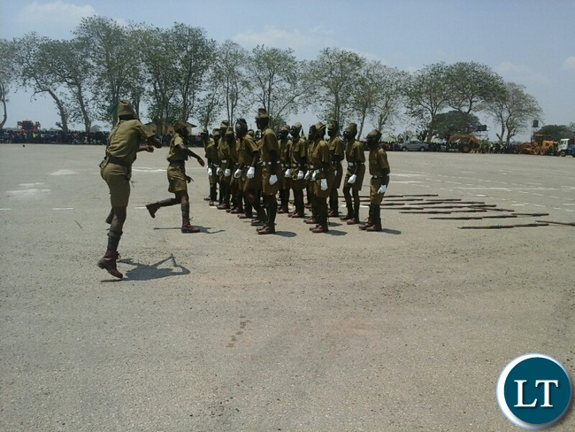 The recruit pass-out and commemoration of the African Correctional and Prisons Day in Kabwe with Recruits wearing uniforms worn during the colonial era