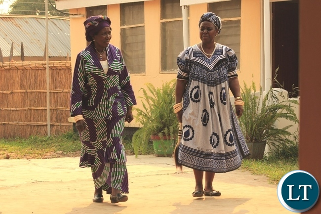 Vice President Inonge Wina (l) with of Her Royal Highness Litunga La Mboela (r) of Lwambi Chiefdom walking the Muoyo Palace yard during the courtesy call in Nalolo District