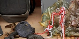 Traditional charms displayed used by suspected criminals at Mongu Central Police