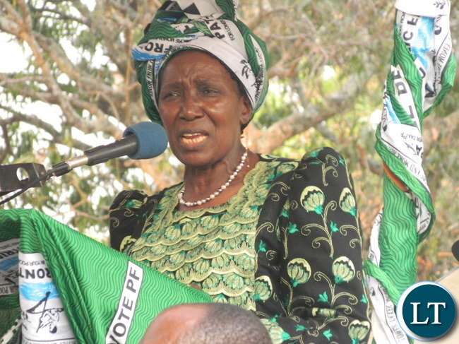 Vice President Inonge Wina addressing a rally at Ipusikilo Primary School ground in Lubansenshi constituency in Luwingu district to drum up support for the PF candidate for the parliamentary by-election, George Mwamba