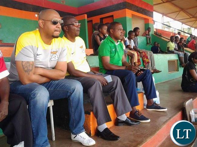 FAZ executive committee member Lee Kawanu with president Kalusha Bwalya at David Kaunda Stadium in Chipata during Airtell Rising Stars Identification programme