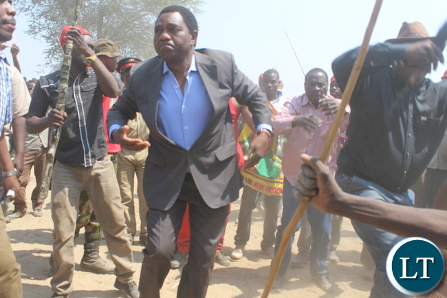 United Party for National Development (UPND) President does the Ila warrior dance as a sign of mourning during the burial of late Bweengwa Central Ward Councilor Mr. Gladson Maungila in Bweengwa