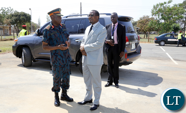Gen Nathan Mulenga with Defence Minister Richwell Siamunene