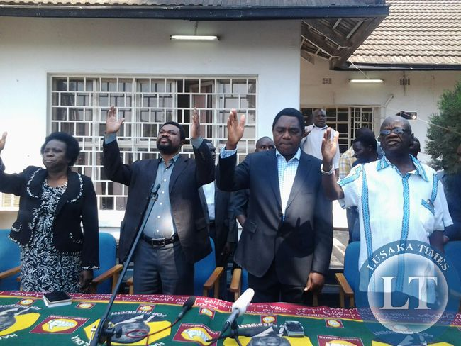 UPND president Hakainde Hichilema with his leadership team at today's news conference
