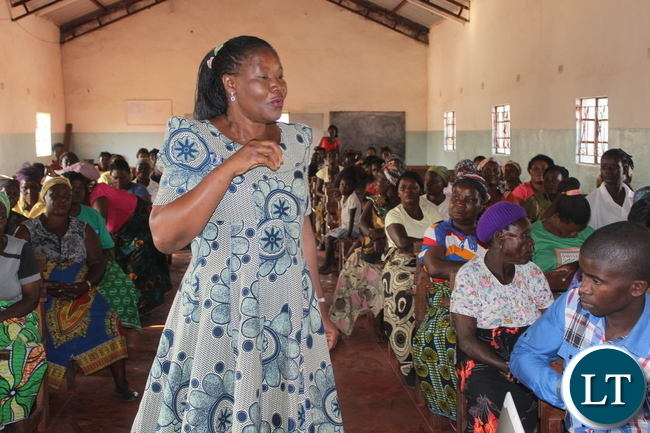 FDD President Edith Nawakwi explains the importance of working together as women at Reformed Church in Garden on Wednesday.