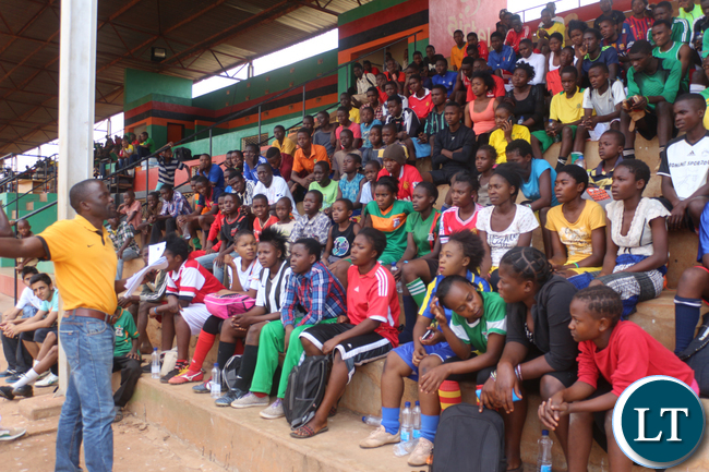 Eastern Province Football Coordinator Sandras Kumwenda addressing Airtel Talent Search hopeful from Eastern Provinces districts: Chadiza, Lundazi, Petauke, Katete, Sinda, Mfuwe, Nyimba and Chipata at Chipata David Kaunda Stadium on Saturday, September 26th.