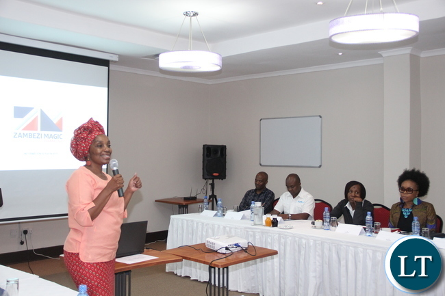 National Arts Council, chairperson, Mulenga Kapwepwe makes remarks at the forum