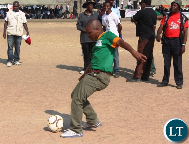 Bwacha Member of Parliament Sydney Mushanga kicks the ball to officially launch the tournament in his constituency.