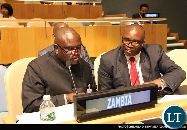 Speaker of the National Assembly of Zambia Dr Patrick Matibini, his executive assistant Roy Ngulube and Zambia UN Mission Counsellor (Political and Administration) Silvester Mwanza at the Fourth World Conference of Speakers of the Parliament at UN Headquarters in New York on Monday  31stAugust 2015. PHOTO | CHIBAULA D. SILWAMBA | ZAMBIA UN MISSION