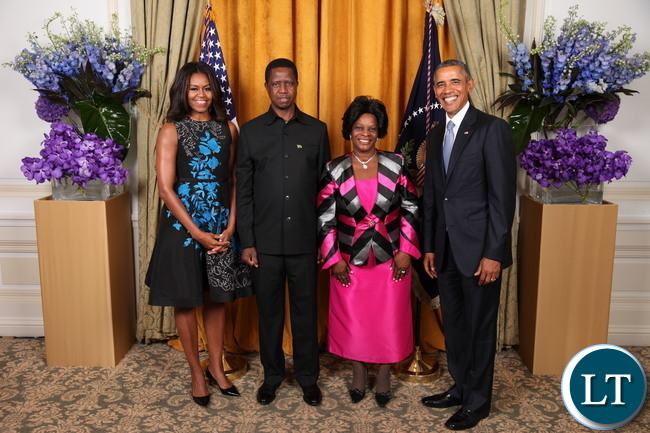 President Barack Obama and First Lady Michelle Obama greet His Excellency Edgar Chagwa Lungu, The President of the Republic of Zambia, And Mrs. Lungu during the United Nations General Assembly reception at the New York Palace Hotel in New York, N.Y., Sept. 28, 2015. (Official White House Photo by Lawrence Jackson)