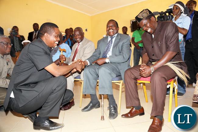 President Lungu greets Chiefs Singani of Choma