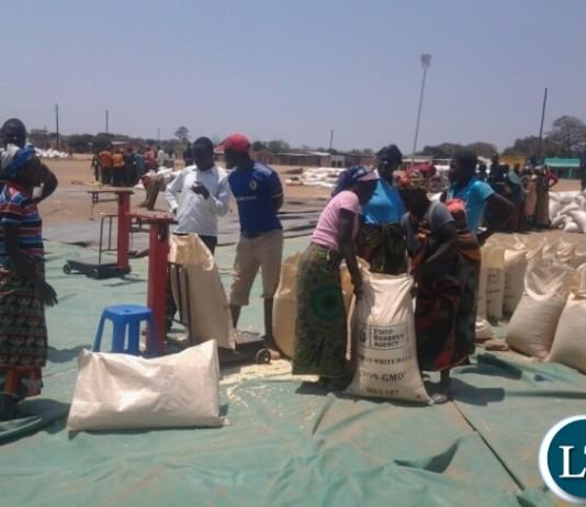 Some farmers weighing at Lumezi Food Reserve Agency depot in Lundazi