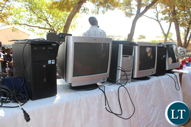 Some of the computers handed over to Namuseba Primary School in Monze District today by Zambia National Building Society (ZNBS) in a bid to complement government's efforts to spearhead Information, communication and Technology (ICTs) learning in schools.