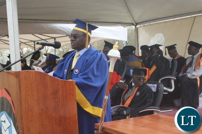 ZAOU Vice Chancellor-Prof. Mutale Musonda gives speech during ZAOU's 7th Graduation Ceremony at the OYDC