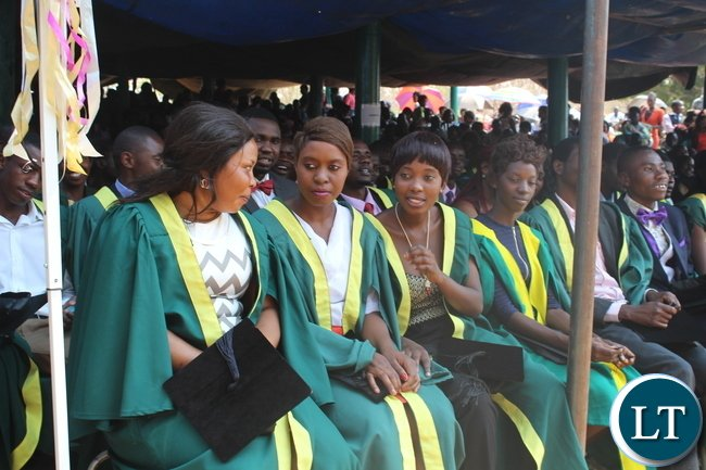 Some of the graduands during the graduation ceremony held at Zambia College of Agriculture