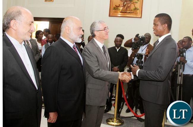 President Edgar Lungu  (R) greets Israel Ambassador to Zambia Gershon Kedar as Pakistan  Ambassador Asaf Khan (Second from left) and Iran ambassador to Zambia  Mohammed Aminnejad (L) Looks on at State House where the Ambassadors presented credentials to him in Lusaka on Thursday, September 17,2015 -Picture by THOMAS NSAMA