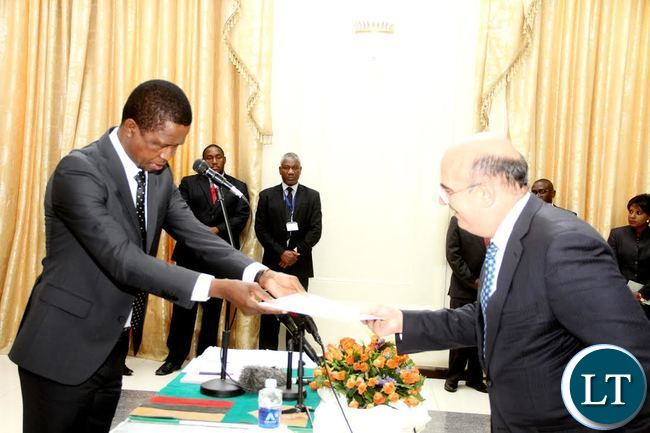 President Lungu receives credentials from Italian Ambassador to Zambia Filipo Scammacca Del Murgo E Dell'agnone at State House on Thursday, September 17,2015 -Picture by THOMAS NSAMA