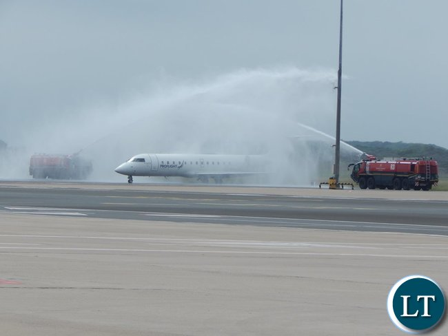 The inaugural Proflight Zambia flight from Lusaka to Durban receives a Water Canon Salute when the plane arrived at King Shaka International Airport in Durban on Monday, 21st September, 2015. PICTURE BY NICKY SHABOLYO