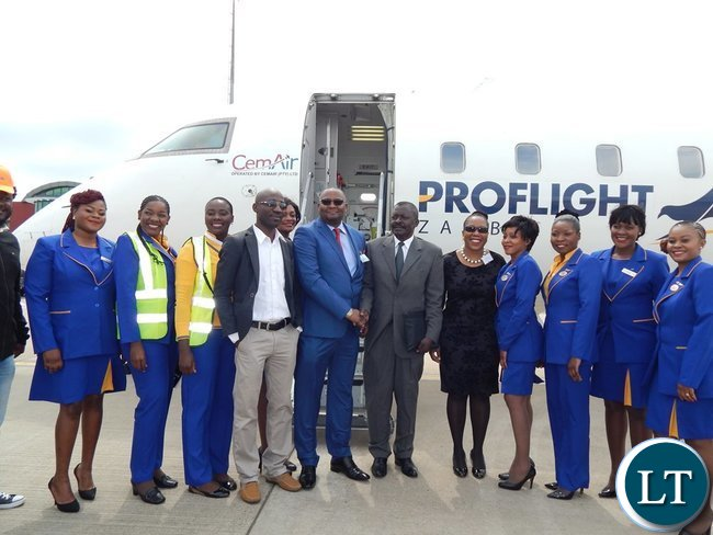 Zambia's High Commissioner to South Africa, His Excellency Mr Emmanuel Mwamba poses for a photo with staff from Proflight Zambia, Airports Corporation of South Africa and the High Commission.This was after the inaugural Proflight Zambia flight from Lusaka to Durban arrived at King Shaka International Airport in Durban, South Africa on Monday, 21st September, 2015. PICTURE BY NICKY SHABOLYO