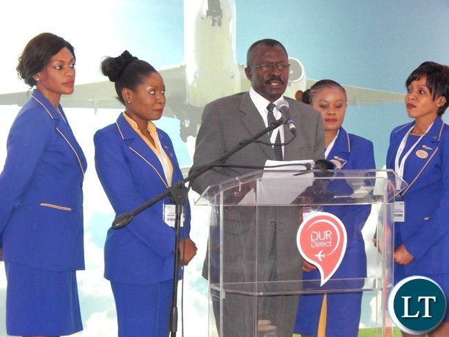 Proflight Zambia Director of Government and Industry Affairs, Captain Philip Lemba speaks during the launch of the Proflight services to Durban at the International Convention Centre on Monday, 21st September, 2016. PICTURE BY NICKY SHABOLYO