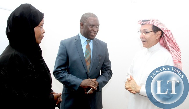 FILE: First Lady Esther Lungu with Zambia's Ambassador to Saudi Arabia Ibrahim Mumba listens to InterHealth Canada-Riyadh  Senior Advisor to the  Board of Directors Dr  Emad  El Dukair during a meeting in Riyadh , Saudi Arabia  where Dr Dukair announced a donation of medical drugs and Hospital Equipments worth between  US$  1 million and  US$ 3 million dollars from  InterHealth Canada-Riyadh to Zambia through the office of the First Lady on Sunday Evening, October 18,2015 -Picture by THOMAS NSAMA