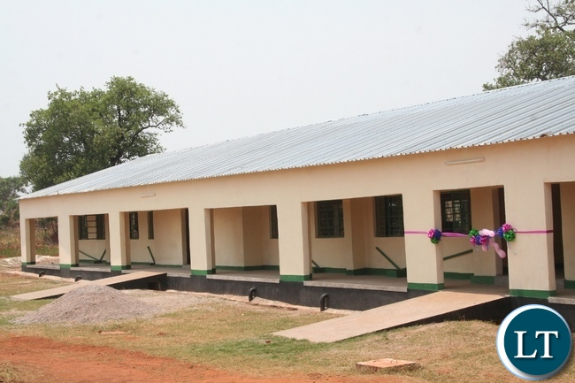 Lumine mine company has allocated US 400,000 to Lumwana Community Trust (LCT) to undertake various projects in the surrounding communities for 2015. Above, a 1 x 3 science laboratory block at Mehaba secondary school in Kalumbila district in North-Western province that has been constructed by the LCT at a total cost of 782,000 and was handed over to government