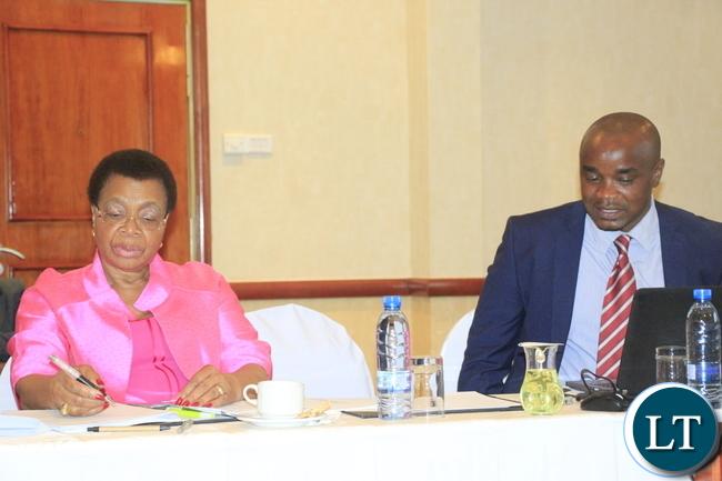 Mrs Graca Machel and William Chilufya at the CSO  partnership meeting in Lusaka this week