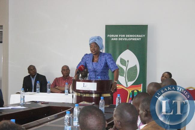 President Edith Nawakwi addressing the media in Lusaka