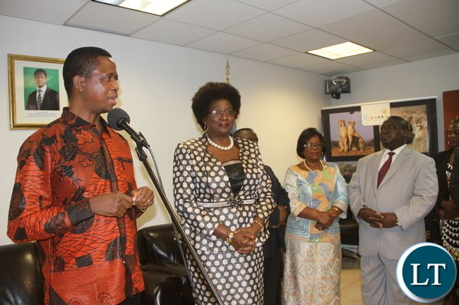 President Lungu addresses Zambians living in USA at the permanent mission of the Republic of Zambia to the United Nations in New York on Wednesday, September 30,2015 -Picture by THOMAS NSAMA