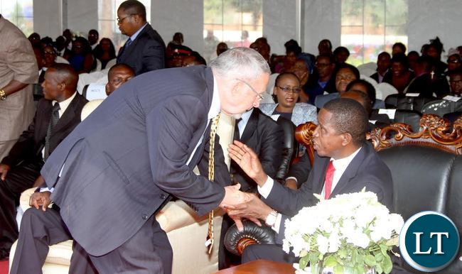 President Lungu confers with Dr Guy Scott during the memorial service and unveiling of the Tombstone of the Late President Michael Chilufya Sata at Embassy Park in Lusaka on Wednesday, October 28,2015 -Picture by THOMAS NSAMA