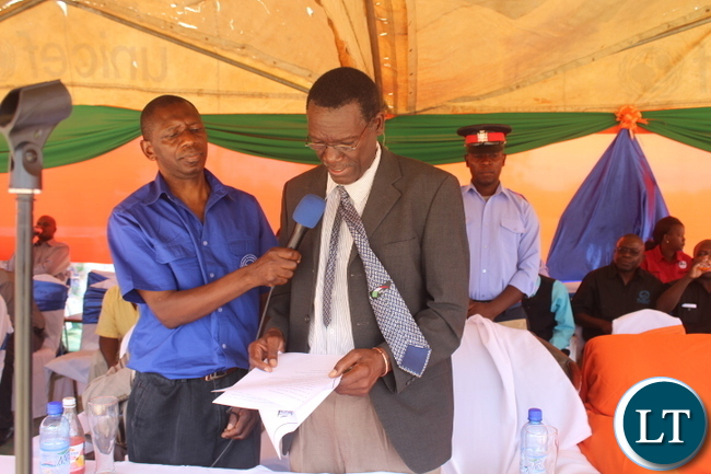 "Monze District Commissioner Mr. Cyprian Hamanyanga who delivered the official speech on behalf of Southern Province Minister Mr. Nathaniel Mubukwanu during the World Teachers Day held in Monze under the theme, ""Empowering Teachers, Building Sustainable Societies""."