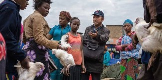 A chinese Chicken Farmer Selling Chickens at the market