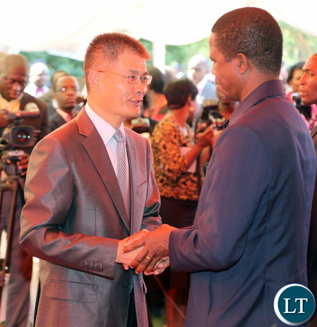 Chinese Ambassador to Zambia H.E. Mr. Yang Youming thanks President Lungu after the Press Conference at State house