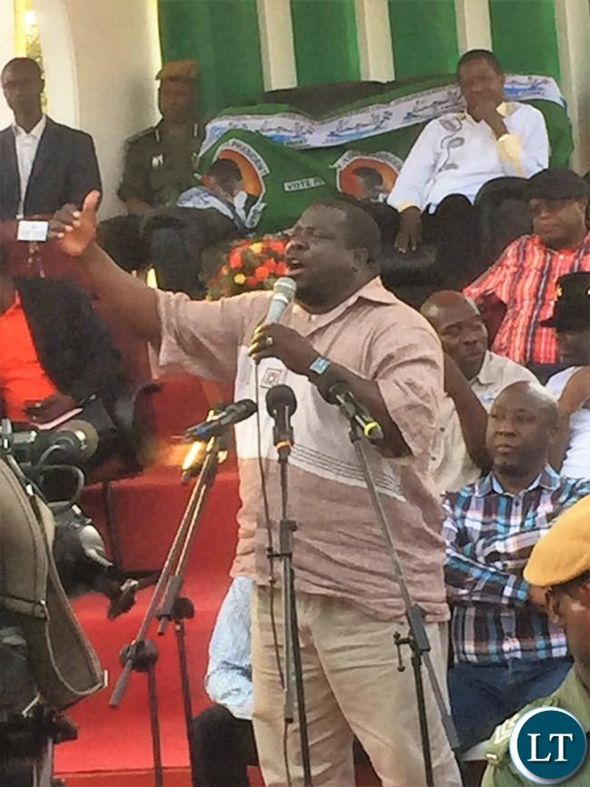 Chishimba Kambwili at a Youth Rally in Kitwe