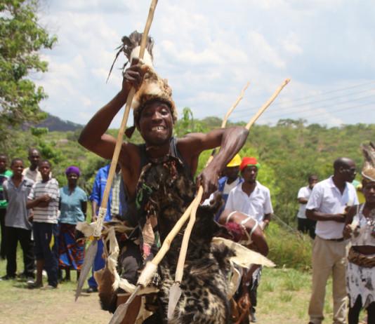 A Tonga warrior welcoming the president.