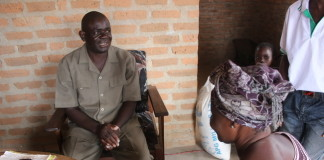 Chief Matipa with President Edith Nawakwi at his residence in Chilubi island.