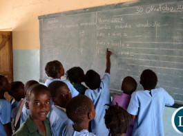 THE recent implementation of the revised national education curriculum by Government, which introduced teaching of local language syllabus from Pre-School to Grade four level in Primary Schools, is progressing well in Choma district, Southern Province. Above, Grade One pupils at Kalundu Ka Maria Primary School were found cheerfully learning how to construct sentences in Citonga in their classroom.