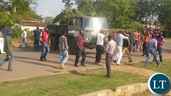 Luanshya residents demonstrating against police intimidation