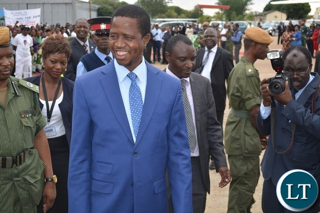President Lungu on arrival in Livingston
