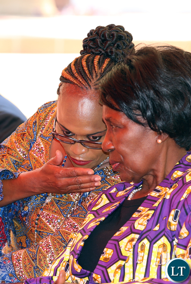 Mrs Inonge Wina with Mrs Mumbi Phiri at The Press Conference at State house