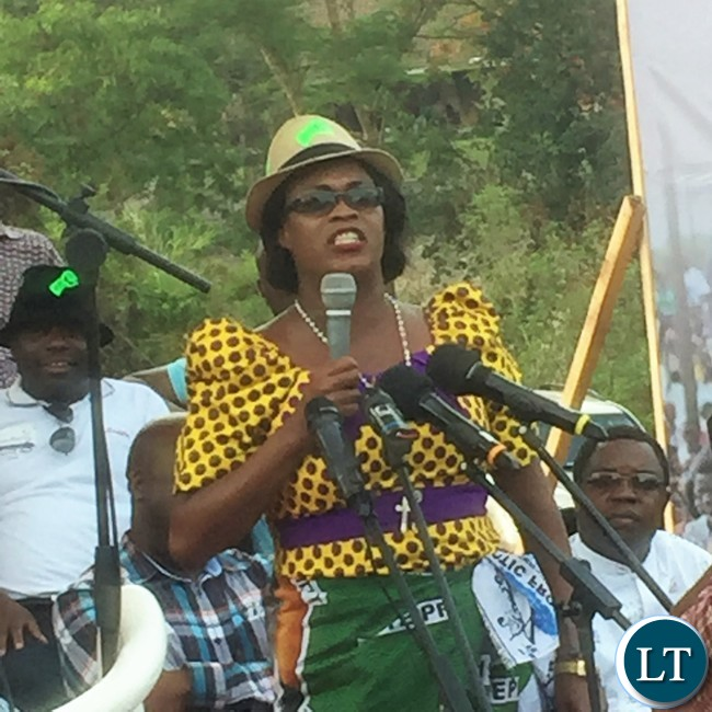 PF Deputy General Mumbi Phiri makes her point during a PF Youth Rally at Freedom Park