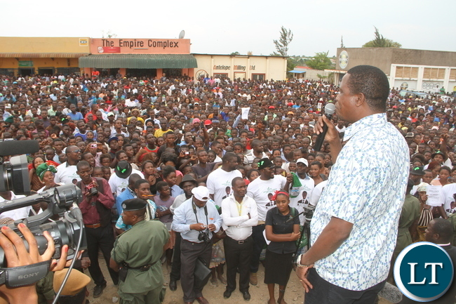 President Lungu addresses Chambishi residents after a tour of the market on Monday, Novermber 2,2015 -Picture by THOMAS NSAMA