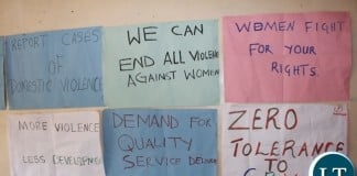 Placards carrying messages on GBV displayed by Mbala women during the 16 Days of Activism celebrations