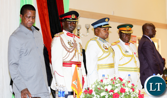 President Lungu with Brig Gen Alibuzwi Commandant Staff College and air Commander Gen Chimase, ZNS deputy Commandant