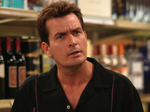 "caption: ""Phase One"" -- Charlie Sheen stars as Charlie Harper on TWO AND A HALF MEN, Mondays (9:30-10:00 PM, ET/PT) on the CBS Television Network.   Photo: Justin Lubin/Warner Brothers  2003  WARNER BROTHERS INC. ALL RIGHTS RESERVED copyright:  [PNG Merlin Archive]"