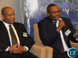 Mr. Emmanuel Mwamba speaks on a panel discussion with Massmart Chairman, Mr. Kuseni Dlamini at the launch of the Zambia-South Africa Business Council in Johannesburg