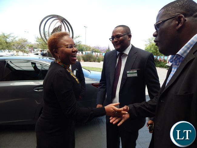 Mr. Emmanuel Mwamba welcomes South Africa's Minister for Small Business Development Ms. Lindiwe Zulu at the launch of the Zambia-South Africa Business Council in Johannesburg on Friday, 30th October, 2015.