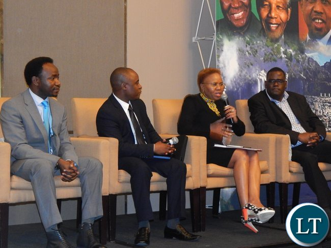South Africa's Minister for Small Business Development Ms. Lindiwe Zulu on a discussion panel with Mr. Peter Mwanza of UNDP in South Africa, Dr. Musonda from the University of Johannesburg and Father Peter Chungu from Port Elizabeth at the launch of the Zambia-South Africa Business Council in Johannesburg on Friday, 30th October, 2015.