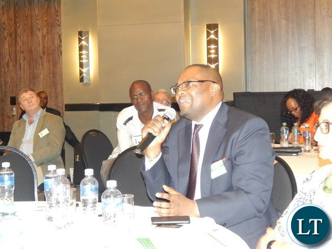 Mr. Emmanuel Mwamba makes an intervention during during discussion before the launch of the Zambia-South Africa Business Council in Johannesburg